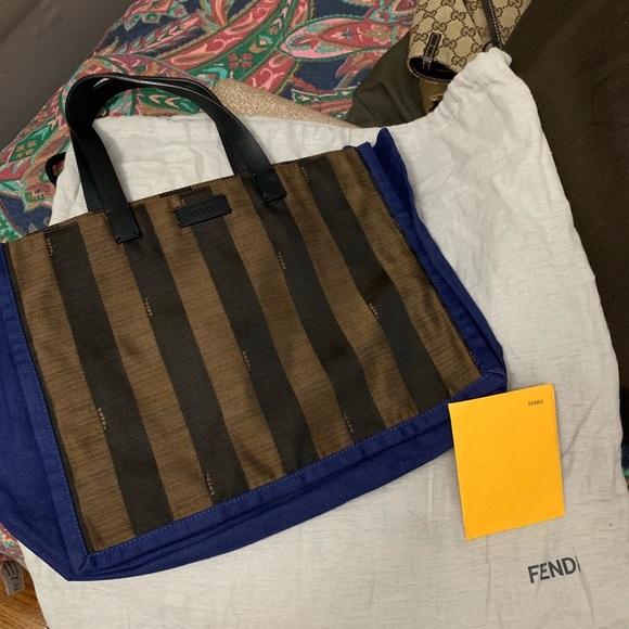 26e748ebe Fendi Bags | Small Bluebrown Stripe Shopping Canvas Tote | Poshmark